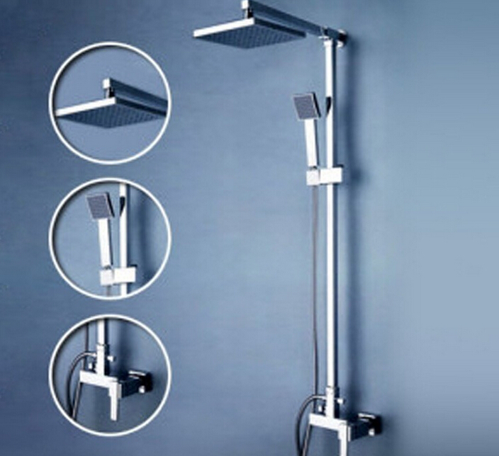 Beelee Wall Mounted Bathroom Rain Shower Set Brass Shower Faucet