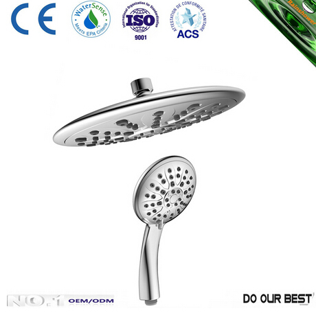 chromed ABS body and face Top Shower and hand shower in different styles with CE CCC certificates