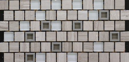 MBT2003 snow white glass tile with plastic frame and grey stone mosaic tile