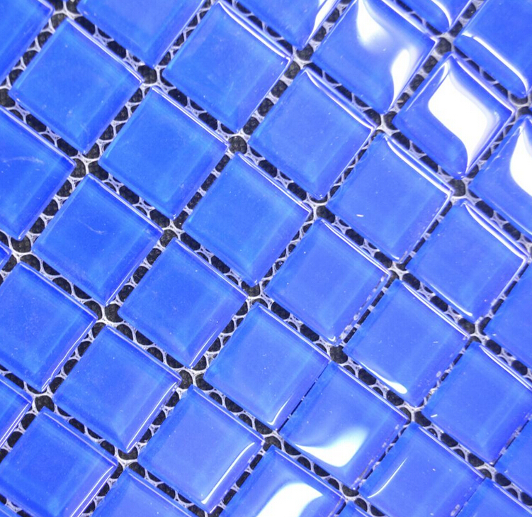 MB1605081 23*23mm Blue swimming pool crystal glass mosaic tiles Stocked glass mosaic