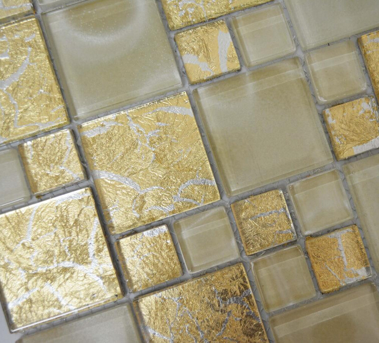 China in stock high quality durable gold foil crystal glass mosaic for sale