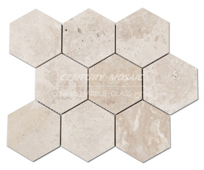 century high quality travertine big hexagon marble mosaic tile