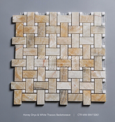 Cheap kitchen basketweave marble mosaic wall tile of Biege color