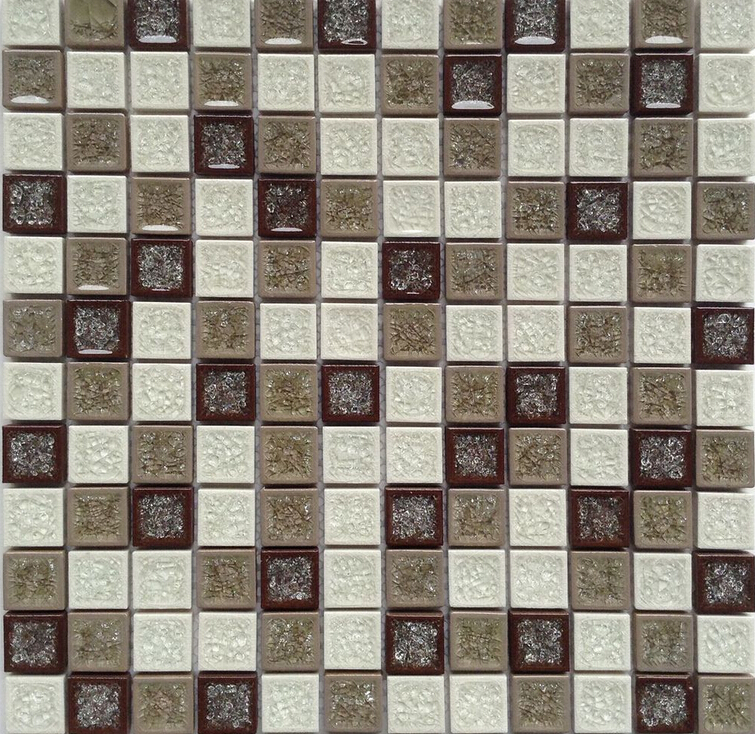 5/8''x2'' stainless steel mosaic offset marble,metal mixed with ceramic mosaic tile