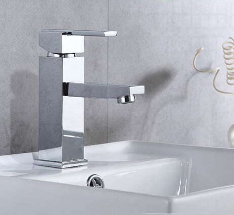 Contemporary hot sale brass chromed deck mounted Single hole face faucet square shape taps