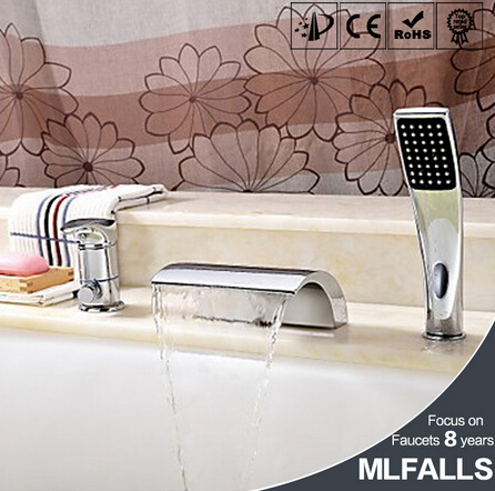 Contemporary Brass deck mount Tub Faucet with Hand Shower - Chrome Finish