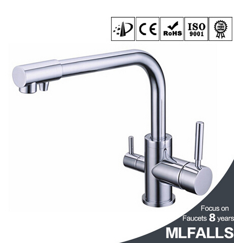 Modern wall mount kitchen faucet with dual handles pure water faucet deck mounted