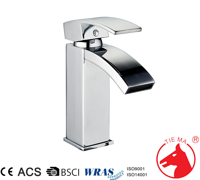 Chrome tall size single hole waterfall basin faucet