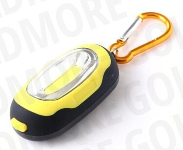Goldmore 3 COB MINI carabineer led keychain flashlight,1W Carabiner COB LED CR2032 Battery powered Keychain Light