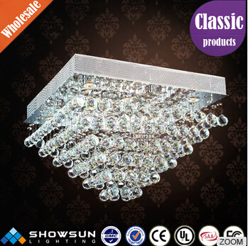 Luxury modern square crystal ball led ceiling lamp chandelier