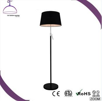 Black fabric lamp shade stainless metal living floor lamp