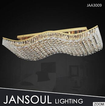Golden wave flush mount crystal chandelier for hotel