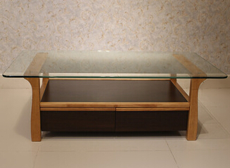Modern Living Room Furniture Design Square Glass Top Wooden Tea Table