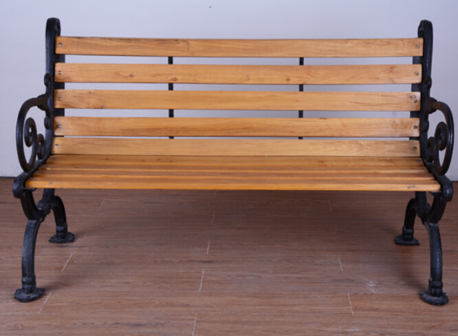 Cast iron base solid wooden park bench