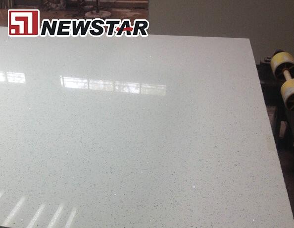 Solid surface galaxy white quartz countertop slabs
