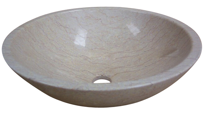 Lowest price Polished Beige Marble Wash Basin Bathroom Sinks