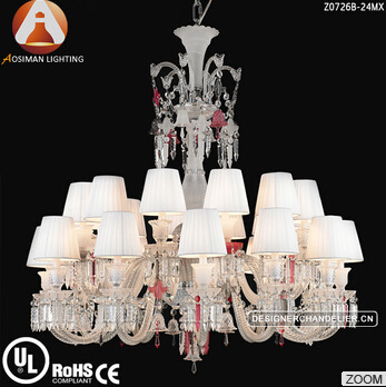 Baccarat Style Unfocused Chandelier with Colorful Crystal