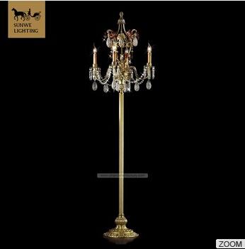 Discount floor standing lamps 4 Lights Bronze Floor Lamps bronze red crystal Finish