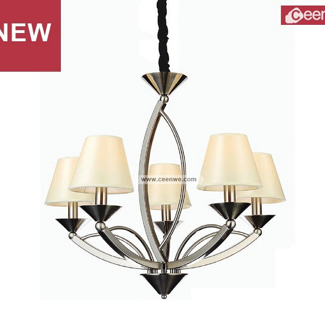 2015 New Design Modern 5 Lights LED iron sand nikel living room chandelier