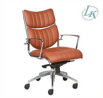 middle back with two soft pads, brown office chair, Pu leather chair