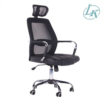 Black high back luxury chrome arm chair mesh ergonomic office chair with headrest LS-1026H
