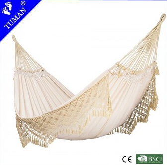 White handmade tassels hammock folding outdoor swing bed