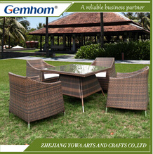 Gemhom 4 Seater Dining Set with Armchairs in Mixed Brown