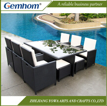 Wholesale chinese aluminium garden furniture, leisure poly rattan garden furniture sale, cube set table outdoor dining set