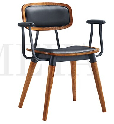 Commercial modern metal restaurant furniture chair with leather back and seat