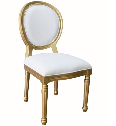 Promotional products Hotel furniture restaurant white pu leather dining chair gold aluminum solid wood chair gold ghost chair