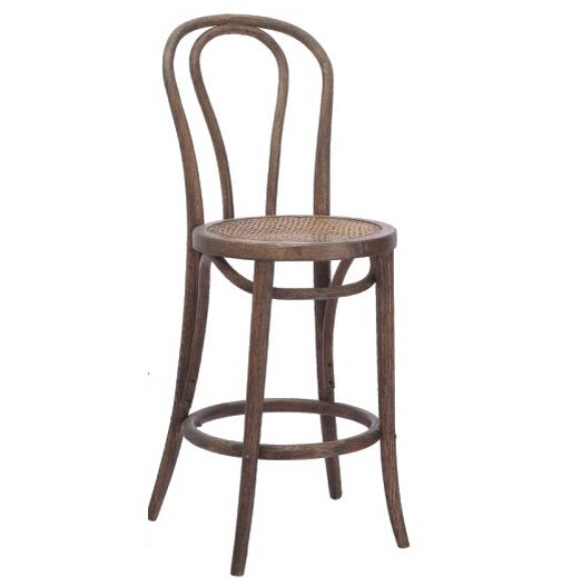 Top quality wood fabric seat design bar stool high back chair