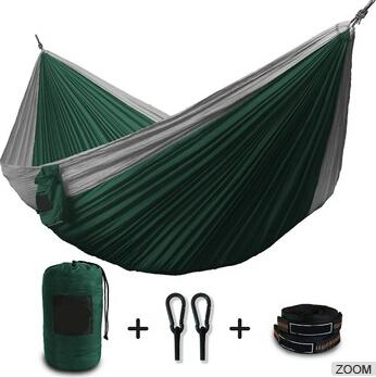 HC-HM009 bi-color nylon parachute hammock outdoor portable double hammock