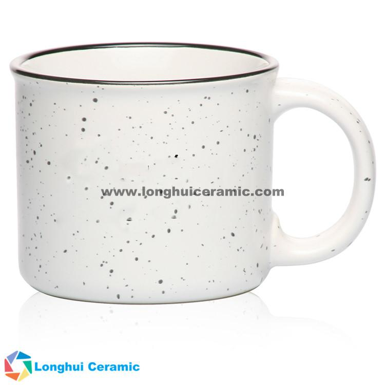 Tin style camper-campfire custom ceramic coffee mug with retro granite design