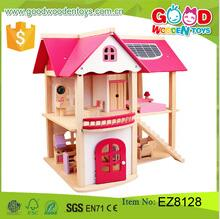 Wooden Education Good Kids Pink Dollhouse Toys with Furniture DIY Dollhouse Miniature
