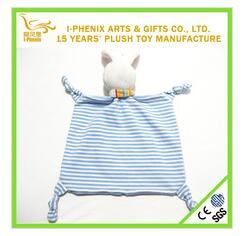 Square shaped Super soft Velvet plush stuffed baby bids doudou rattle