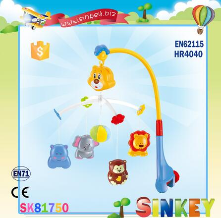 Colorful Animal Shaped bed bell musical rotated voice controlled hanging toys plastic baby hanger