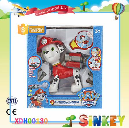New arrival electronic plastic red patrol dalmatian doy with music and action toy for kids and boy