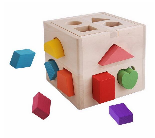 Educational Wooden 3d Puzzles Game Shape Sorting Cube Toy Childrens Wooden Toys