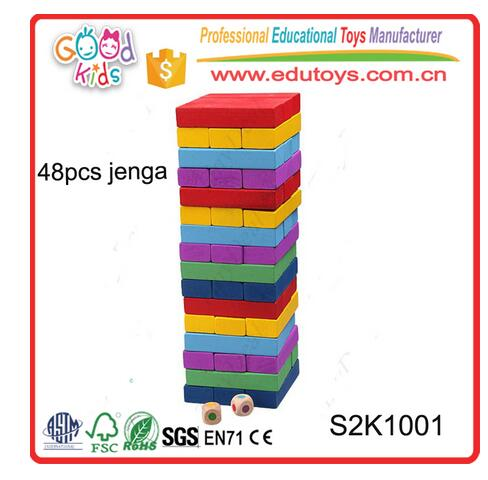 Educational Kids Toys Jiasaw Puzzle 48 PCS Colorful Wooden Jenga Blocks Game