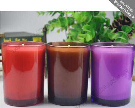Different color glass jar scented candle