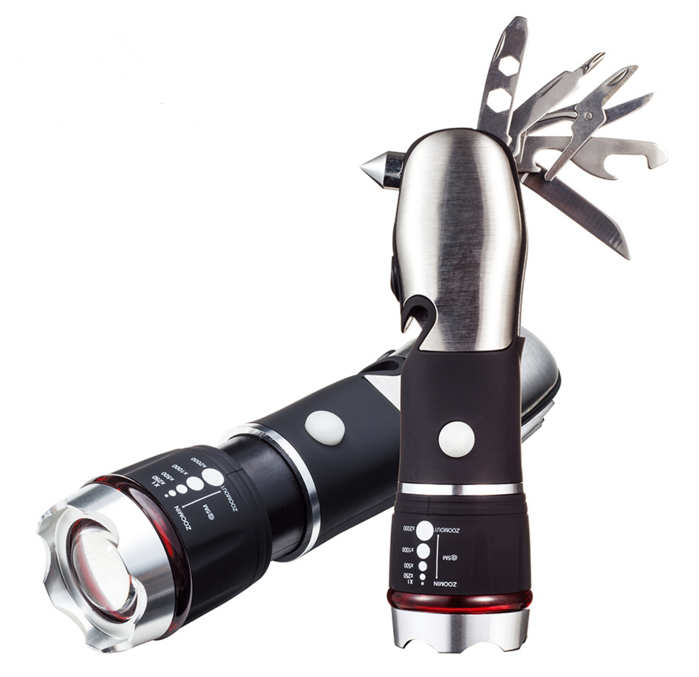 Multi Tool LED Flashlight,Tool Light For Emergency, Camping With Glass Breaker and Seatbelt Cutter (black)