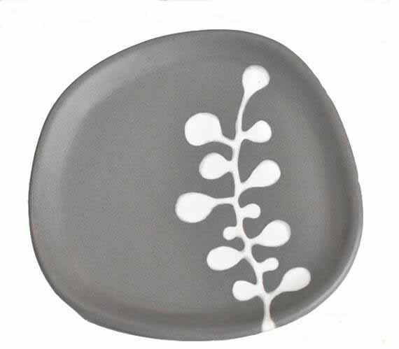 Gray Irregular Fancy Artistic Ceramic Plate