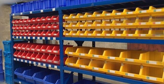 china warehouse storage shelving with bins for spare parts shelving