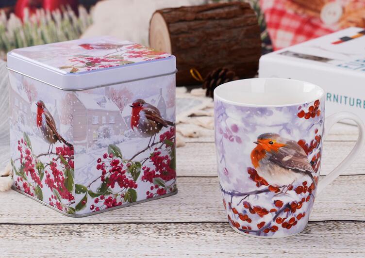 AB Grade Tea Mugs With Coaster And Tin Gift Box