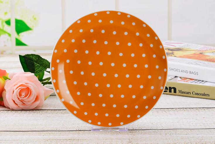 8'' Oven Solid Color Ceramic Round Plate With Dot