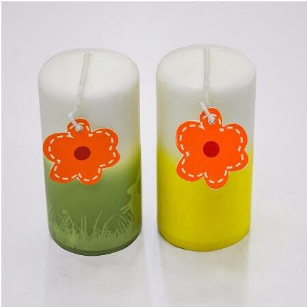 2 Layer Decorated Cylinder Pillar Candle