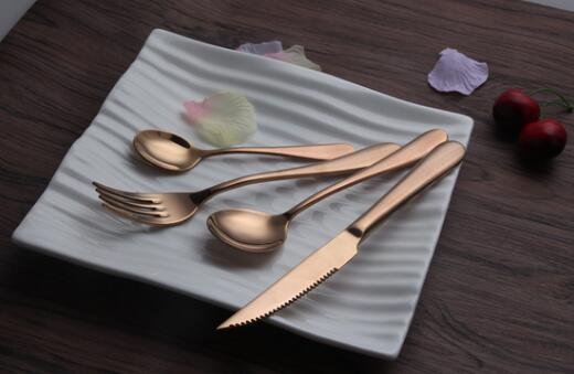 Eco-Friendly Rose Gold Stainless Steel Dinnerware