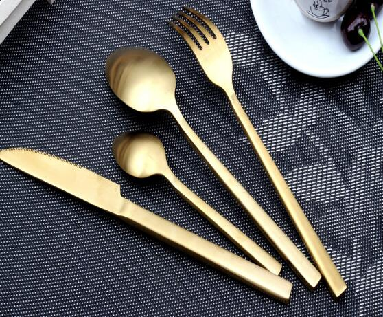Premium Matte Finish Gold Stainless Steel Cutlery