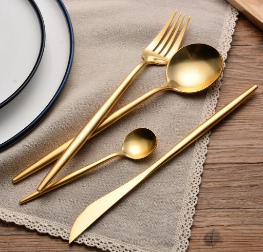 Wedding Party Favor Brushed Gold Cutlery