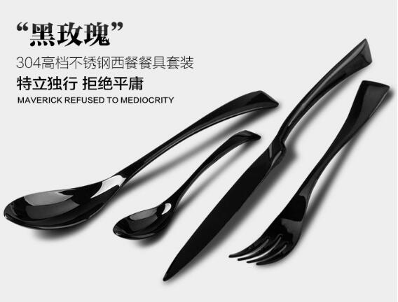 New Design High Quality Black Gold Plated Cutlery